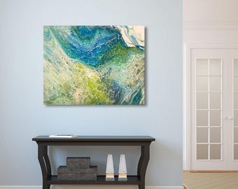 Original Abstract Painting. Sea Fantasy. Abstract Seascape. Modern Art. Fluid Painting. Blue teal & green Home Decor. Gorgeous Creative gift