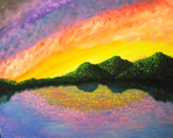 RAINBOW'S END Original Acrylic Landscape Painting Mountain Lake Reflections