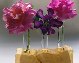 Rustic decor - Split wood test tube vase flower holder