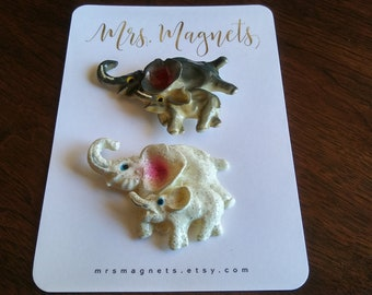 Elephant Magnets Set of 2 - kitchen refrigerator magnets, office magnets, teacher gift, hostess gift