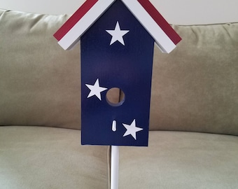 All American Red White & Blue Birdhouse Lawn Decoration