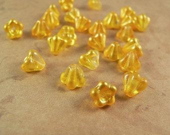 Yellow Czech Glass Baby Bell Flower Beads Satin Buttercup 4x6mm (25)