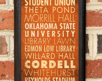 Oklahoma State Cowboys OSU Points of Interest Wall Art Sign Plaque Gift Present Home Decor Vintage Style Pistol Pete Stillwater OK Classic