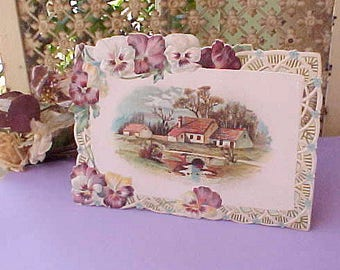 Beautiful Large Embossed Victorian Era Scrap with Purple and White Pansies