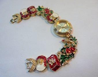 Vintage Jennie B Enamel Christmas Charm Slide Quartz Women Ladies Wrist Watch Gold Plated Chunky Retro Statement Runway