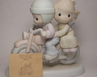 Boy and Girl on Motorcycle Porcelain Figurine - Enesco - Vintage Collectible - 1989 - Original Box and Paperwork - Precious Moments