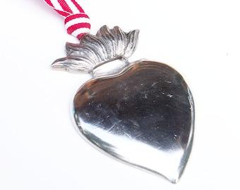 Zinn Pewter Flaming Heart Ex Voto Sacred Heart