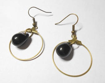 Bronze hoop earrings, black PEAR Czech glass beads