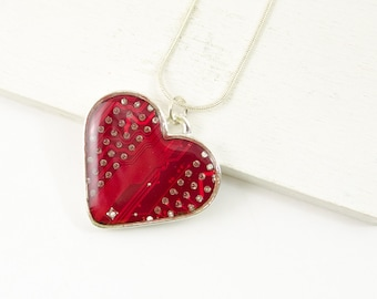 Red Circuit Board Heart Necklace, Wearable Technology, Engineer Gift, Valentines Day Gift, Nerdy Heart Jewelry, Christmas Gift for Mom
