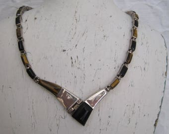 Sterling Silver 950 Necklace Tiger Eye Quartz Onyx Taxco Mexico Modernist