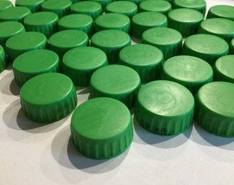 44 Green Plastic Bottle Caps, Twist On Caps, Kid Crafting, Craft Supply, Mixed Media Art