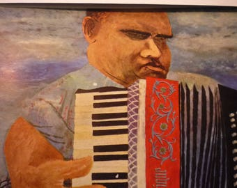 Vintage Print - Ben Shahn The Blind Accordion Player, 1945  - American realist - for art lovers - color plate exhibition cataloge 1947