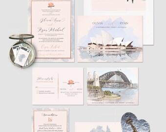 Australia Sydney Destination illustrated wedding invitation Oceania wedding invitation Deposit Payment
