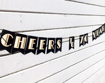 Cheers to 70 Years Banner - 60th Birthday Decorations - Birthday Banner - Great Gatsby Decorations - Wedding - Cheers and Beers - Art Deco