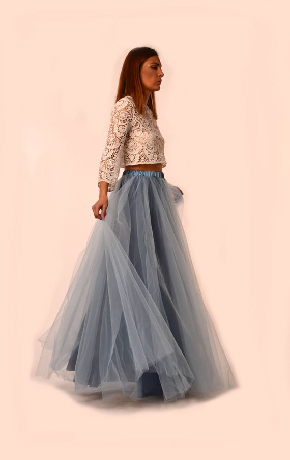 Dusty Blue Tulle Skirt/ Maxi Tulle Skirt/ Made To Measure Long Bridesmaids Tulle Skirt/ Bridal/ Prom/Party Tulle by Etsy