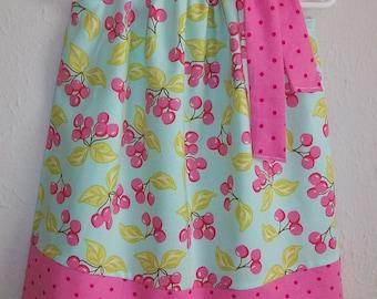 18m Pillowcase Dress Cherry Dress Toddler Dress with Cherries Aqua & Pink Dress Michael Miller Summer Dress Vintage Cherries Ready to Ship