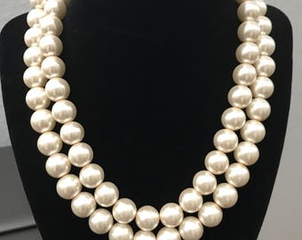 """Double Strand Faux Pearl 20"""" Necklace"""