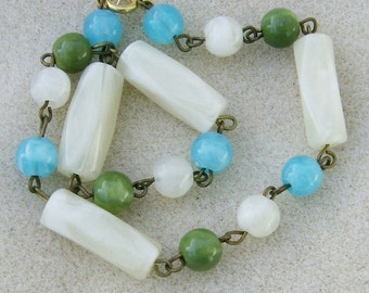 Vintage Ankle Bracelet - Repurposed Translucent Ivory, Green & Turquoise Blue by JewelryArtistry - BR594
