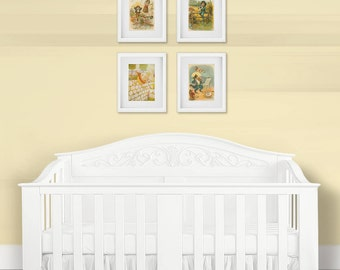 Nursery Wall Art Print Set, Children's Nursery Rhymes, Baby Shower Gift, Mother Goose, Nursery Decor