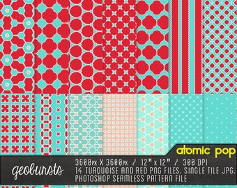 "Geobursts Digital Paper Files // Instant Download // ""Photoshop Seamless Patterns and PNG Files for Scrapbookers"