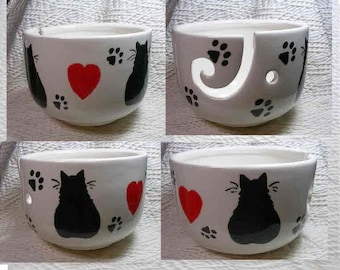 Red Hearts & Black Cats Pottery Yarn Bowl Handmade Original Earthenware Clay by Grace M Smith