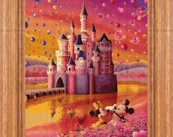 cross stitch pattern, cross stitch, Mickey and Minnie castle 2 - cross stitch pattern - PDF pattern - instant download!
