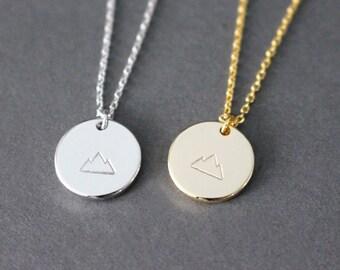 Mountain necklace // Silver Mountain necklace // Gold Mountain Necklace // hand stamped mountain necklace