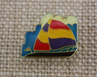 Sailboat - Enamel Pin by American Gag Bag Inc. - Vintage Novelty Pin c. 1980s