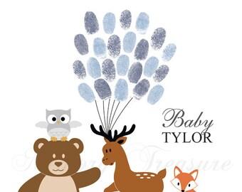 Woodland Animals Baby Shower Guest Book Alternative Forest Animals Baby Shower Woodland Thumbprint Guestbook Forest Fingerprint Guestbook