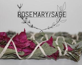 Smudge Stick / Bouquet - Sauge/Romarin.Sauge/Romarin.Sauge.Rose - smudging S or L