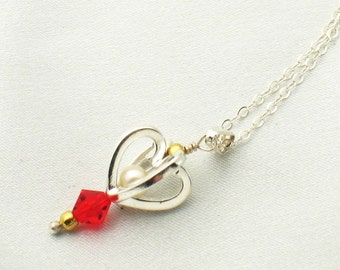 Small heart pendant - red crystal
