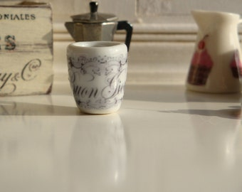 Dollhouse Miniature French Coffee Mugs in 1:12 Scale.