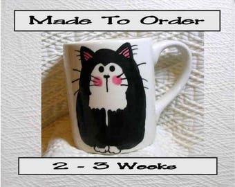 Tuxedo Cat Pottery Mug 12 Oz. Handpainted by Grace M. Smith