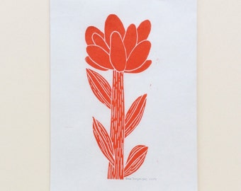 linocut - FLOWER // 5x7 art print // printmaking // block print // nature art // red orange // original // wildflower // 4x6 // miniature