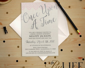 Silver Once upon A Time Fairy Tale Bridal Shower Invitation Printable DIY No. I218_2