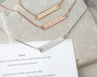 Love Bar Necklace with Adjustable Chain