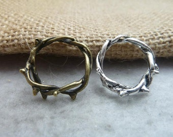 30 Antique Bronze Silver 23-16mm Finger Rings Jewelry Findings Ac7486