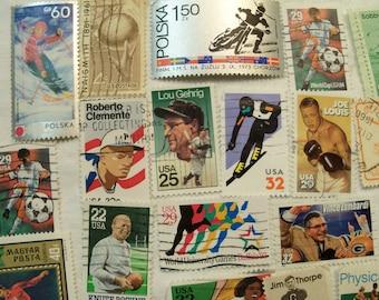 50 Sport Postage Stamps, Postage Stamps, Base Ball, Soccer, Football, Tennis, Track, Vintage Stamps, World Wide