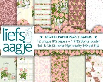 Digital Paper Pack Dahlia Paper Pad Garden Watercolor Flowers Paper Pack Garden Craft Paper Gardening Printable Garden Gift Wrap Pink Green
