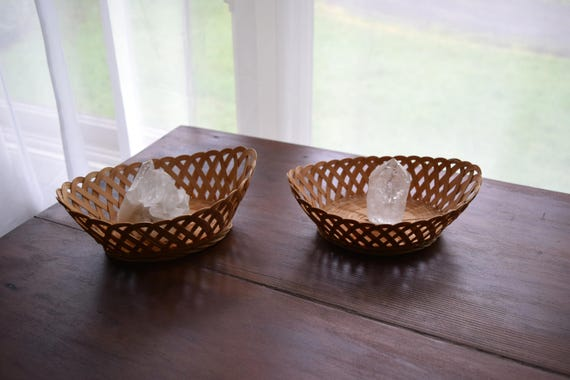 Two Small Delicate Vintage Woven Baskets - Boho, Farmhouse, Natural, Ecletic