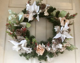 White Poinsettia & Silver Green Holly Christmas Holiday Wreath by Denise's Creations