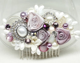 Purple Bridal Comb- Bridal hairpiece- Bridal Hair Accessories- Amethyst Bridal Comb- Purple & Ivory Hair Comb- Wedding Hair Accessories