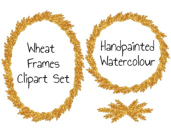 Watercolor Clip Art Frames Digital Clipart Wreath Wheat Branches Leaves Oval Round for wedding stationery signs DIY PNG