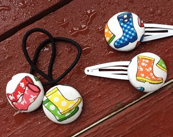 Rain Boot Ponytail Holder , Wellies Hair Button, Hunter Boot, Gift for Girl - Wellington Hair Tie, Stocking Stuffer for Little Girl