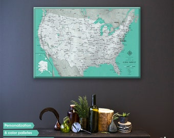 United States push pin map / US map canvas Travel map / Push Pin Map USA / Large United States Map with pins