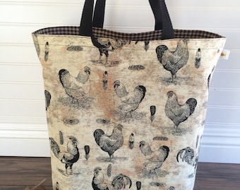 Large Tote Bag, Shopping Bag, Reusable Bag, Chicken and Feathers Bag