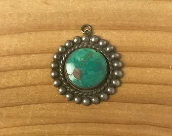 Vintage Navajo Sterling Silver & Turquoise Round Pendant