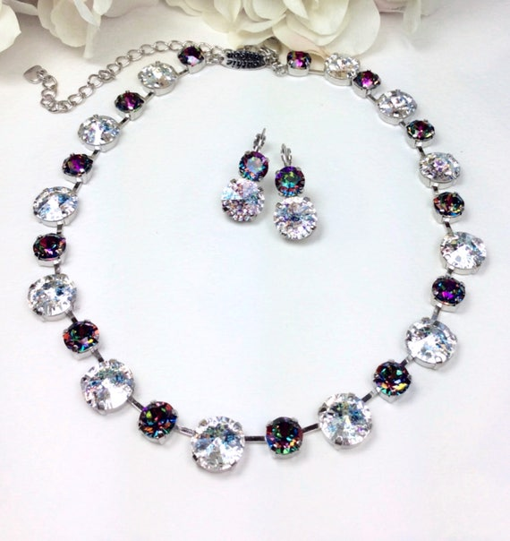 Swarovski Crystal 12MM / 8.5mm Necklace - Stunning Crystal White Patina, and Mysterious Vitrail Medium, Sparkle & Shimmer - FREE SHIPPING