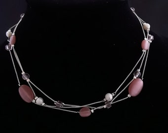 Handcrafted 4 Cultured Pearls and Pink Glass Beads on 18 inch 3 Strand Adjustable Silver Necklace