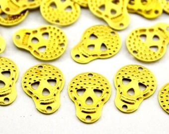50 pcs 10x13 mm Raw Brass  Skull Charms